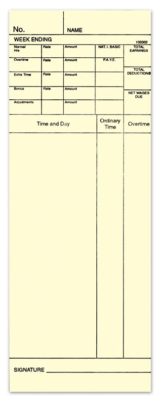 C7082 200 x Weekly Time Cards type: 2087 107071 102115 G1